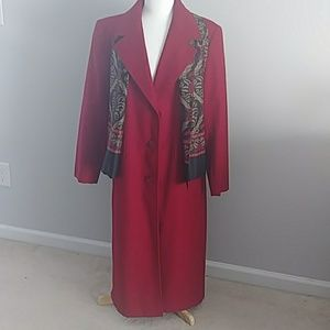 FORECASTER OF BOSTON LONG RED WOOL COAT SIZE 12
